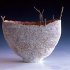 Desert Lake 2003 Stoneware, engobes & oxides fired to 1280 degrees Coil built with twigs