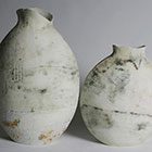 Joined at the hip flasks 2005 Stoneware, engobes, oxides & clear glaze Slab built
